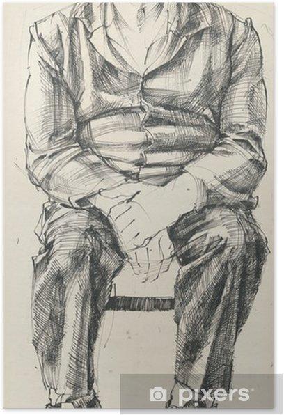 Poster Vue de face de la pose de l'homme- - Art et création