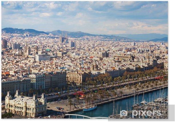 Poster Vue de la ville de Barcelone depuis le côté bâbord - Thèmes