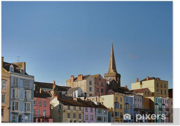 Poster Vue de maisons colorées à Tenby. - Europe