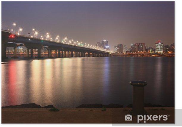 Poster Vue de nuit de la ville de Séoul par le fleuve Han - Thèmes