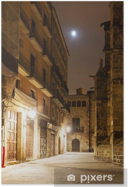 Poster Vue de nuit du quartier gothique près de la cathédrale - Thèmes