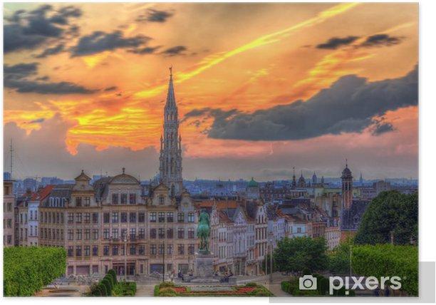 Poster Vue du centre-ville de Bruxelles - Villes européennes