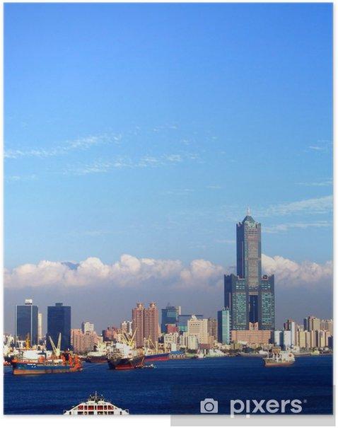 Poster Vue du port de Kaohsiung à Taiwan - Asie