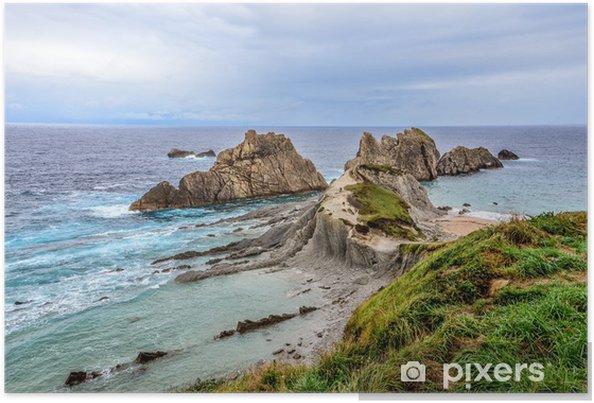 Poster Vue panoramique de Arnia Beach, près de Santander, Espagne - Thèmes