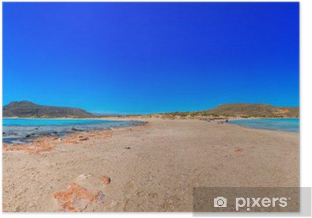 Poster Vue panoramique de la Grèce aux eaux claires de la mer avec blu - Villes européennes