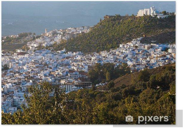 Poster Vue panoramique de la ville bleue de Chefchaouen, Maroc - Afrique