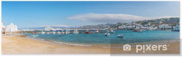 Poster Vue panoramique sur le vieux port de la ville de Mykonos - Thèmes