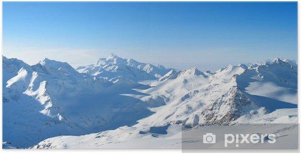 Poster Vue panoramique sur les montagnes - Sports d'hiver