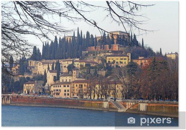 Poster Vue sur la rivière Castel San Pietro et Adige à Vérone, Italie - Europe