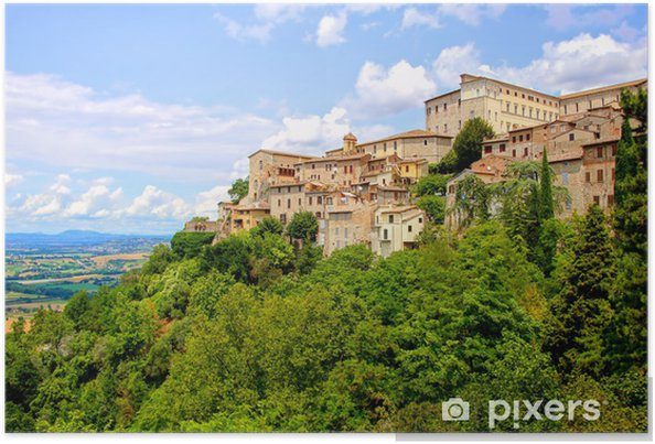 Poster Vue sur la vieille ville sur la colline de Todi, en Ombrie, Italie - Thèmes