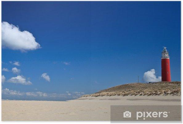 Poster Vuurtoren in de duinen bij het strand - Vuurtoren