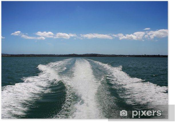 Poster Wake bateau sur l'océan vert - Bateaux