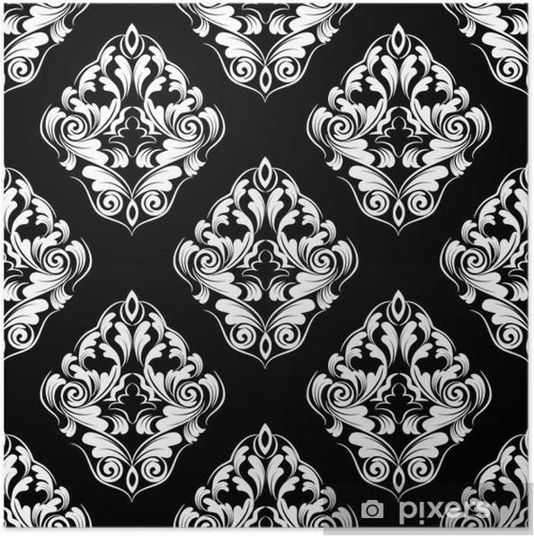 Poster Wallpaper.damask transparente pattern.flower fond - Arrière plans