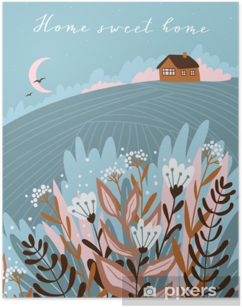 Warm summer night in the village. Cute vector illustration. Hand drawn farm poster design with text - Home sweet home. Poster - Graphic Resources