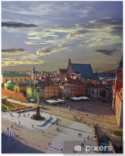 Poster Warschau kasteelplein en zonsondergang - Thema's