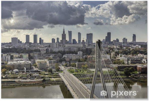 Poster Warschau skyline achter de brug - Thema's