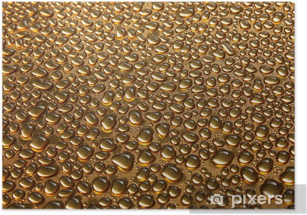 Water drops on copper Poster - Backgrounds