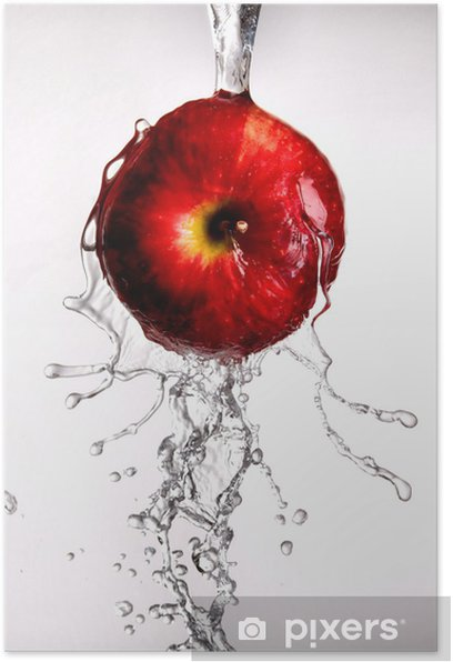 water pouring over apple on white Poster - Meals