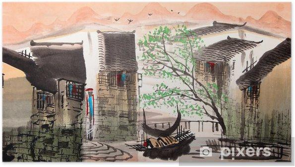 Poster Water stad Chinese tekening - Landschappen