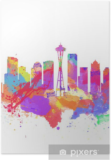 Watercolor Art Print Of The Skyline Of Seattle United