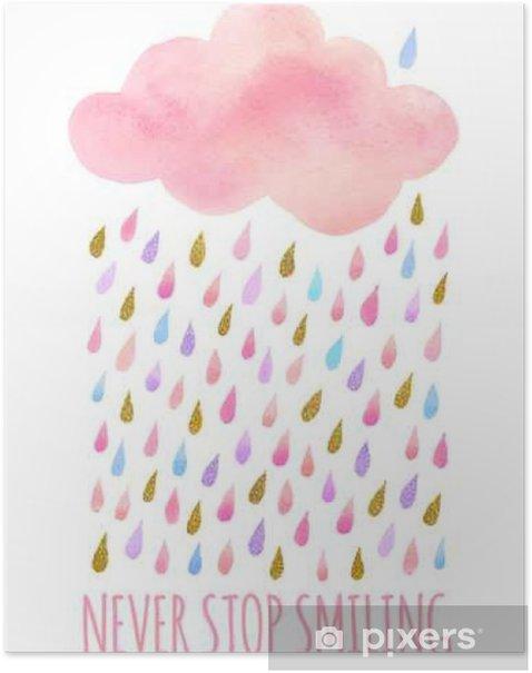 Watercolor cloud with rain Poster - Landscapes