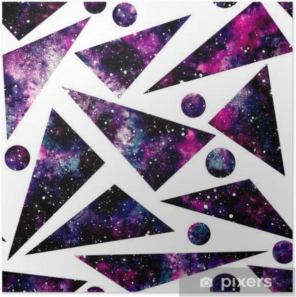 Poster Watercolor driehoeken en Little Cirkels met Nebula, Naadloos Patroon - Grafische Bronnen