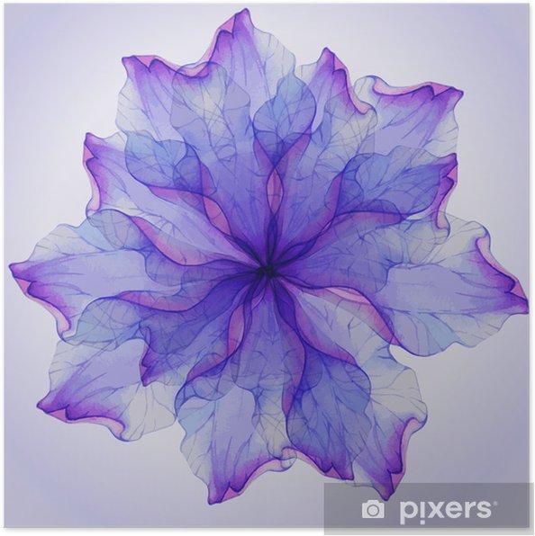 Poster Watercolor floral round patronen. - Bloemen