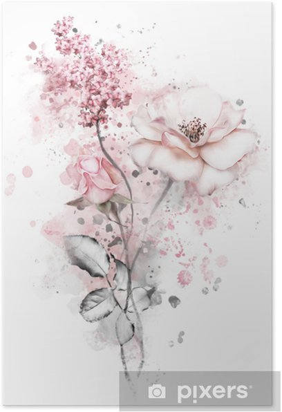 watercolor flowers. floral illustration, flower in Pastel colors, pink rose. branch of flowers isolated on white background. Leaf and buds. Cute composition for wedding or greeting card Poster - Plants and Flowers