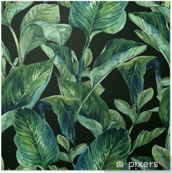 Poster Watercolor Naadloze Achtergrond met Tropische Bladeren - Bloemen en planten
