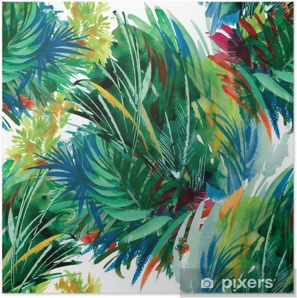 Poster Watercolor naadloze patroon met gras. Hand schilderij. - Vrije tijd