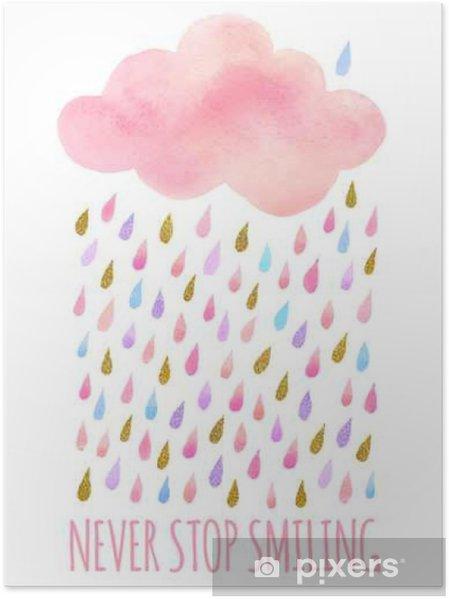 Poster Watercolor wolk met regen - Landschappen