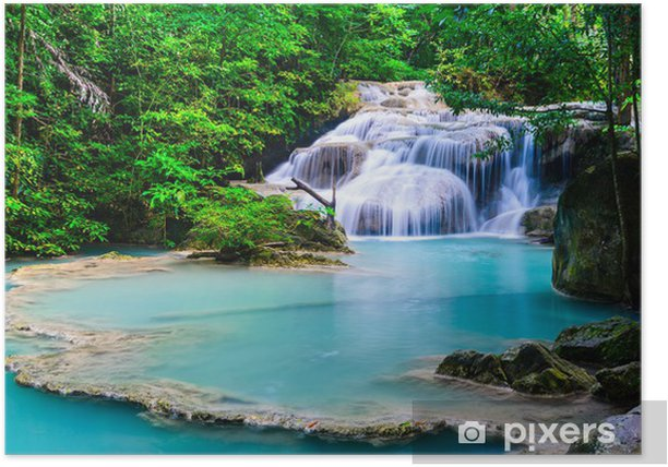 Waterfall at Erawan National Park Poster - Asia