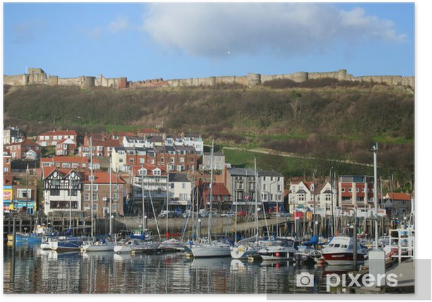 Waterfront view of Scarborough in Yorkshire Great Britain Poster - Europe