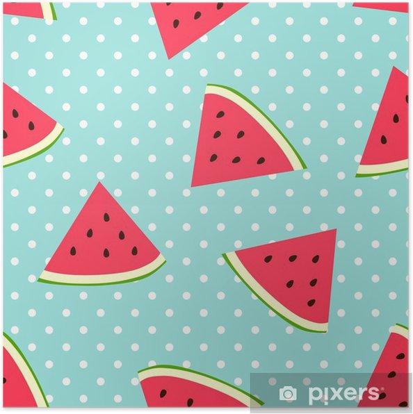 Poster Watermeloen naadloze patroon met stippen - Kinderkamer