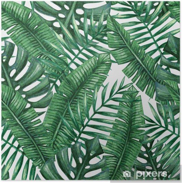 Poster Waterverf het tropische palm verlaat naadloos patroon. Vector illustratie. - Grafische Bronnen