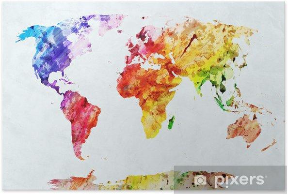 Poster Waterverf wereldkaart - Stijlen