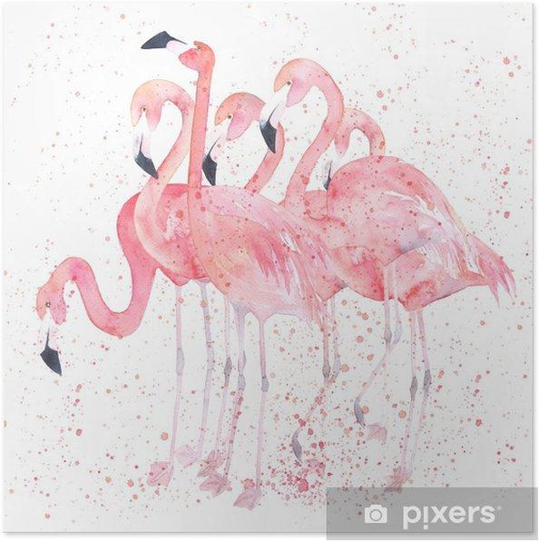 Poster Waterverfflamingo's met plons. schilderij afbeelding - Dieren