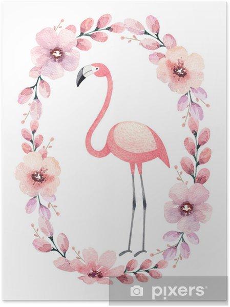 Poster Waterverfillustratie van een flamingo. perfect voor de wenskaart - Dieren