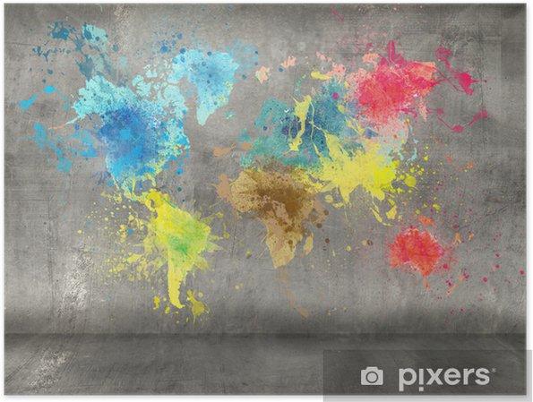 Poster Wereldkaart gemaakt van verf spatten op de betonnen muur achtergrond - iStaging