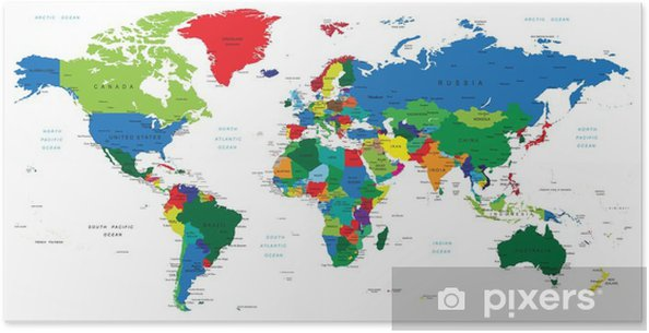 poster wereldkaart-landen • pixers® - we leven om te veranderen