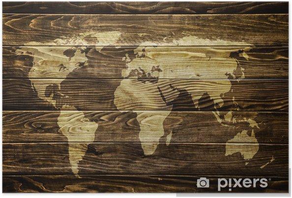 Poster Wereldkaart op houten achtergrond -