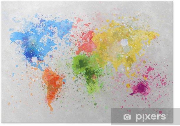 Poster Wereldkaart schilderij -
