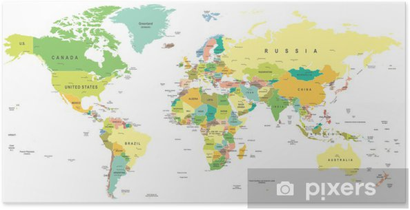 Poster Wereldkaart - zeer gedetailleerde vector illustratie. - Thema's