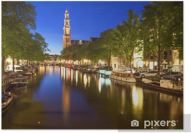Western church on Prinsengracht canal in Amsterdam Poster - Europe