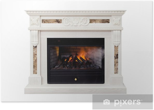 White artificial electronic fireplace Poster - Private Buildings