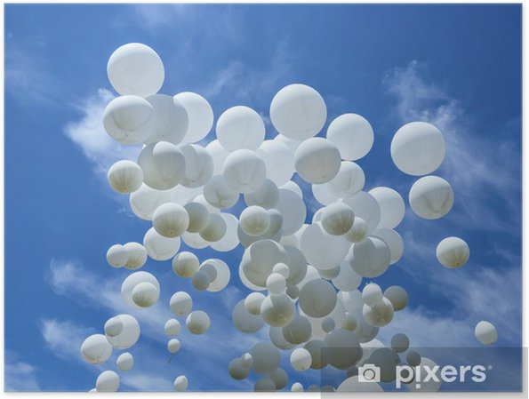 White balloons on the blue sky Poster - Happiness
