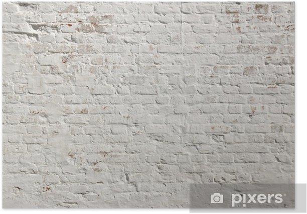 White grunge brick wall background Poster - Styles