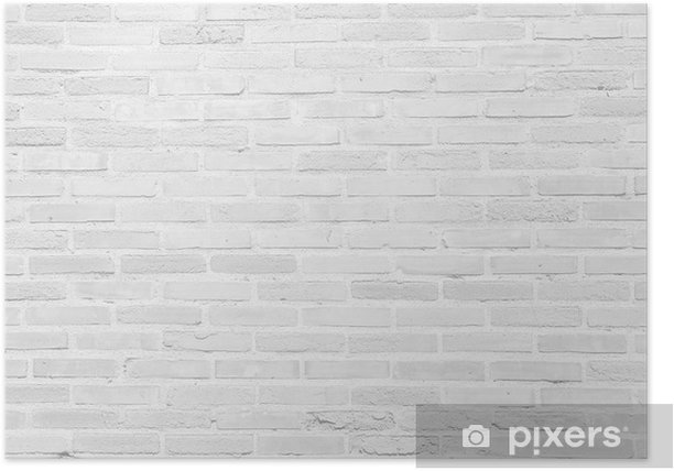 White grunge brick wall texture background Poster - Themes