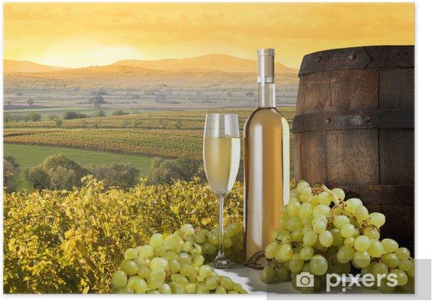 white wine on vineyard Poster - Themes