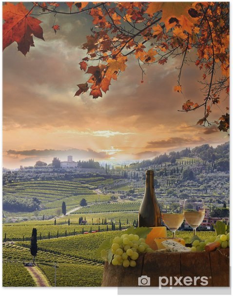 White wine with barell in vineyard, Chianti, Tuscany, Italy Poster - Europe